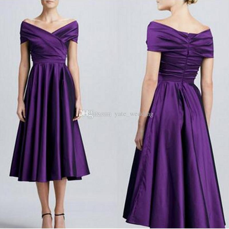 f405e8a25749 Off Shoulder Dark Purple Bridesmaid Dresses Elegant Simple Satin Short  Bridesmaid Dresses Tea Length Aline Bridesmaid Gowns Party Dress Plum  Colored ...
