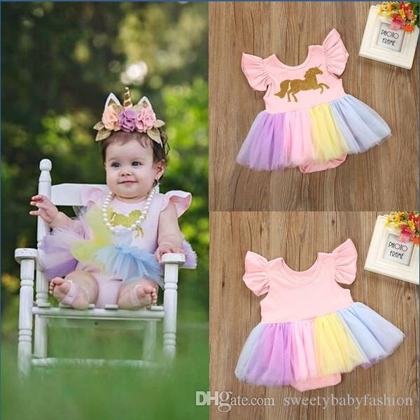 2e1147b5a631 2019 2018 New Fashion Baby Girls Unicorn Printed Romper Cartoon Rainbow  Horse Dress Children Lace TuTu Fly Sleeve Jumpsuits Kids Clothing KA689  From ...