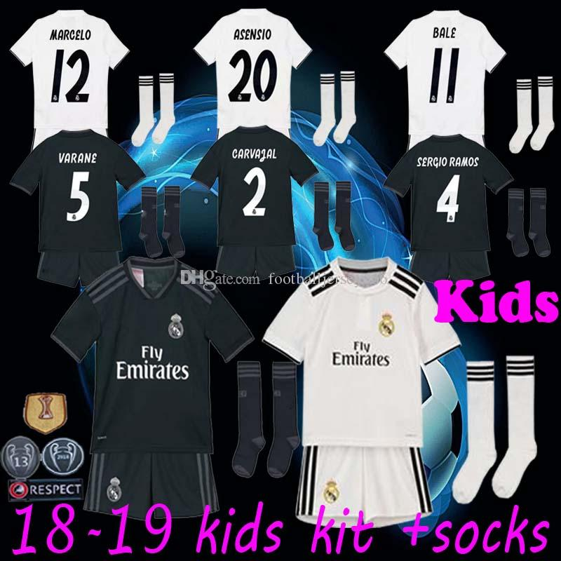 3d006fdc2 Kids Kit +Socks Real Madrid 2019 MARIANO ASENSIO MODRIC Soccer Jersey 18 19  RAMOS BALE ISCO Camiseta Boy Football Shirts Third Red Jerseys UK 2019 From  ...