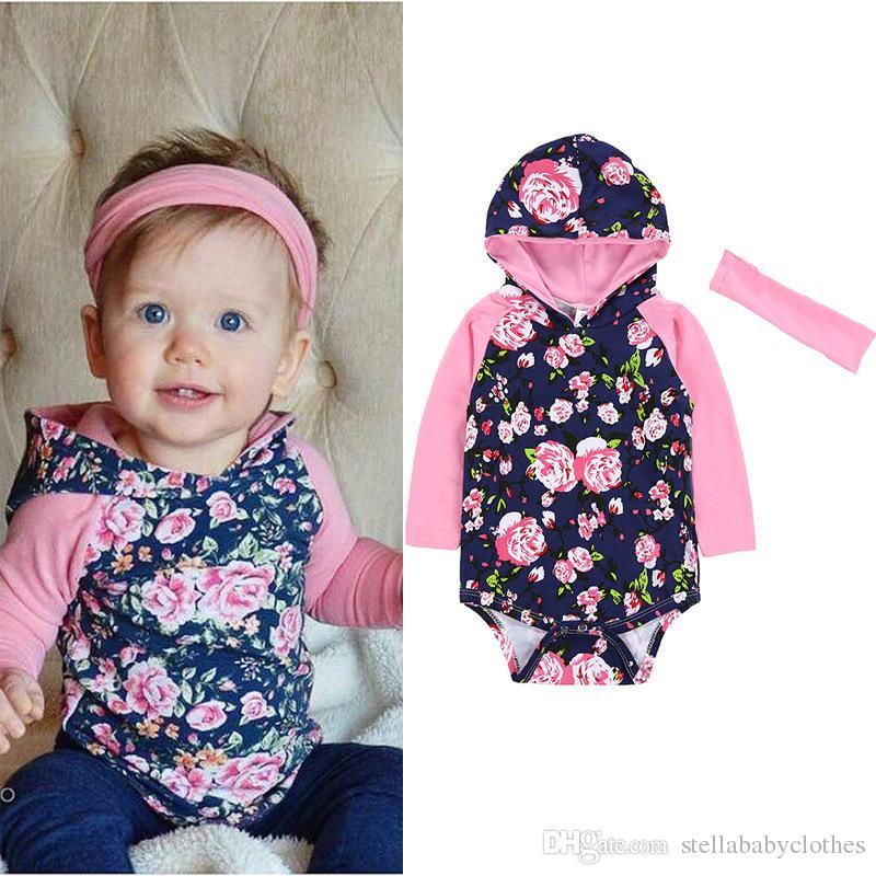 1b0d79217 2019 Fashion Girls Romper Long Sleeve Floral Pink Baby Girls Sunsuit Spring  Kids Hoodies Bodysuit Set Matching Headband From Stellababyclothes, ...