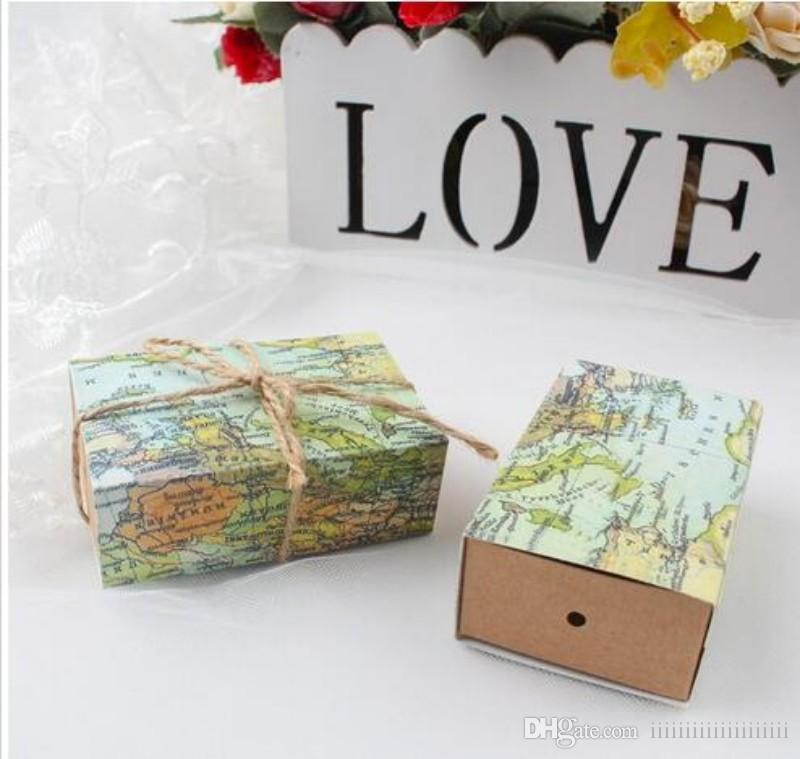 2018 Travel Theme Around The World Paper Map Favor Box Candy Boxes