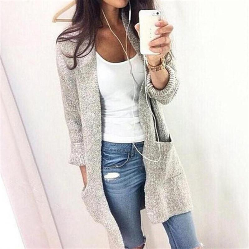 8697f0314c ... Autumn Winter Knitting Cardigan Long Sleeve Loose Knitted Sweater  Jacket Warm Coat With Pocket Outwear Oversized 5XL Casual Top Cardigan Baby  Girl Cream ...