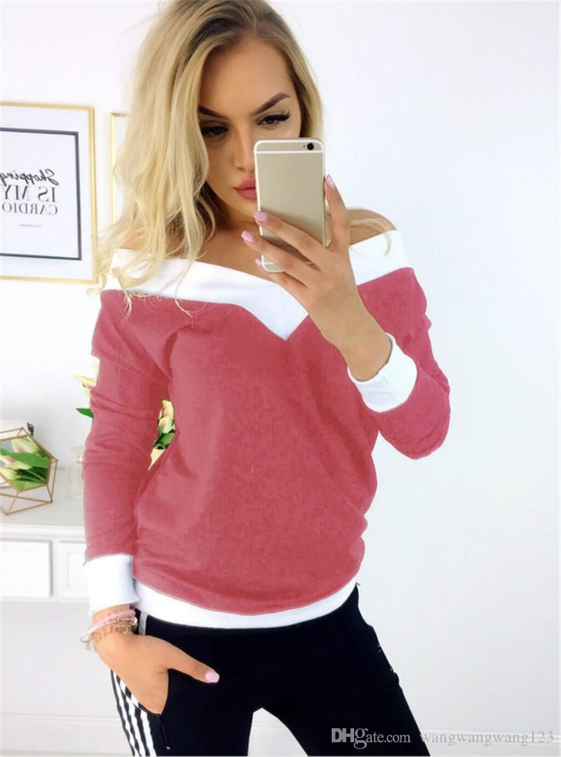 Trend Women Strapless T-shirts Russia trend lady blue pink Piping Rim Knit Cotton Stitching color Elastic slim long sleeve casual Teens Tops