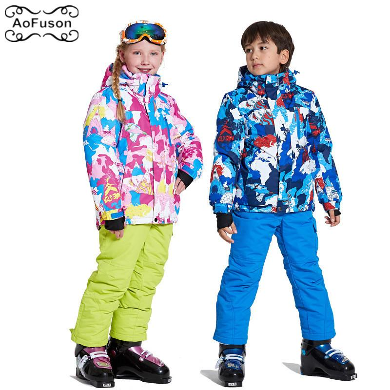 7aee501ea 2019 Children S Ski Suits Jacket Pants Windproof Warm Waterproof ...
