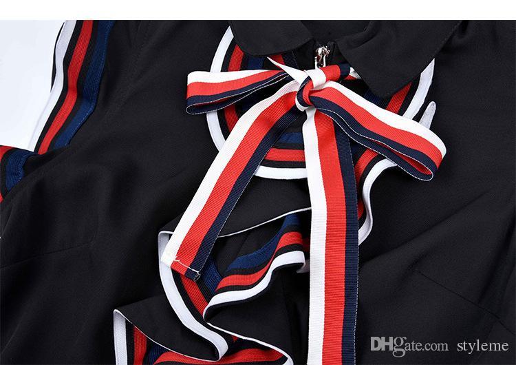العلامة التجارية مصمم النساء فساتين قميص المدرج 2018 الصيف أزياء سيدة شابة رفض طوق الكشكشة أكمام Preppy نمط زيبر فساتين ميدي