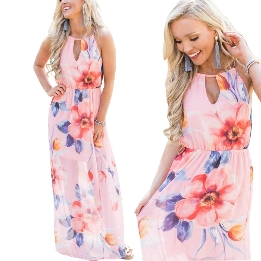 24861c0798e Floral Print Halter Chiffon Long Dress 2018 Maxi Summer Dresses Plus Size  Pink Color Beach Fashion Dresses For Ladies Casual Dresses Cute Dresses  From ...