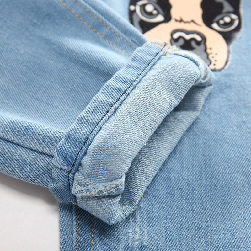 2017 Boys Girls Jeans Infant Cartoon Dog Kids Pants Children Denim Pants Baby Casual Funny Trousers Elastic Waist Spring Autumn