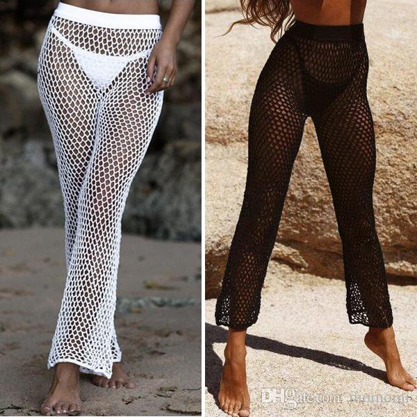 2019 Sexy Crochet Fishnet Pants Women Bikini Cover Up Swimwear Hand