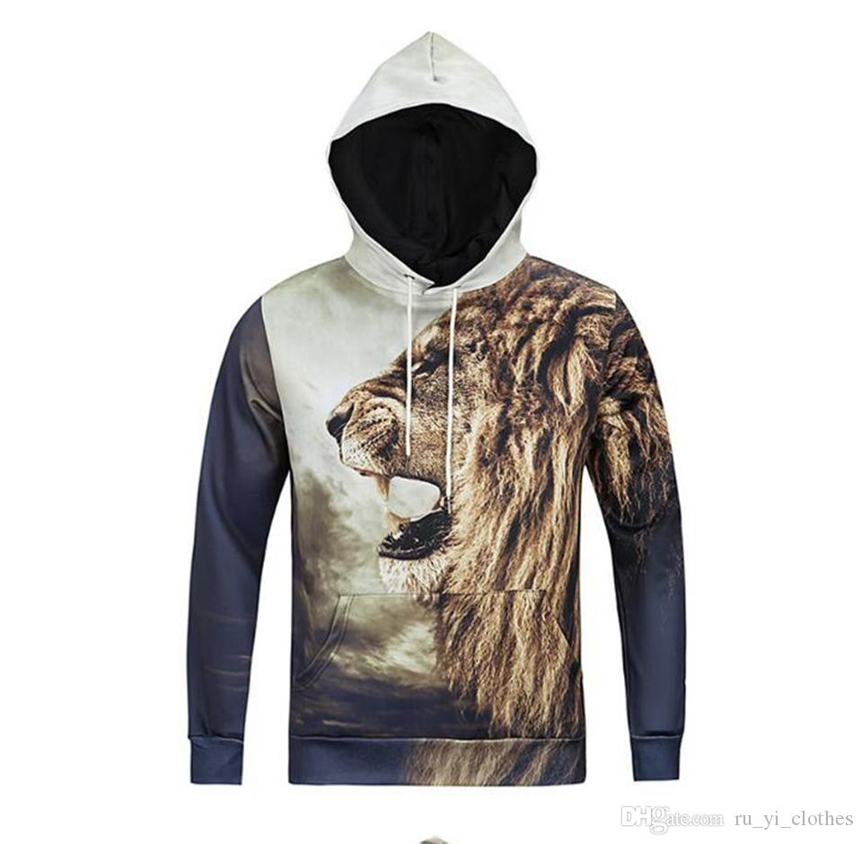 Men spring and autumn new fashion boutique character digital printing 3D printing hat lion pattern head cover vest jacket /M-3XL
