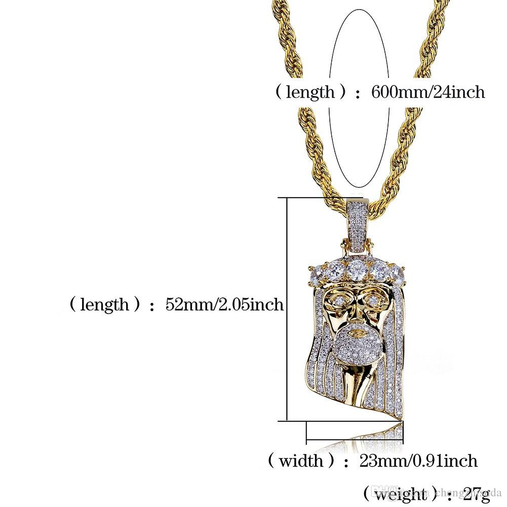 Whosale Fashion Copper Gold Silver Color Plated Iced Out Jesus Face Pendant Necklace Micro Pave CZ Stones HipHop Bling Jewelry