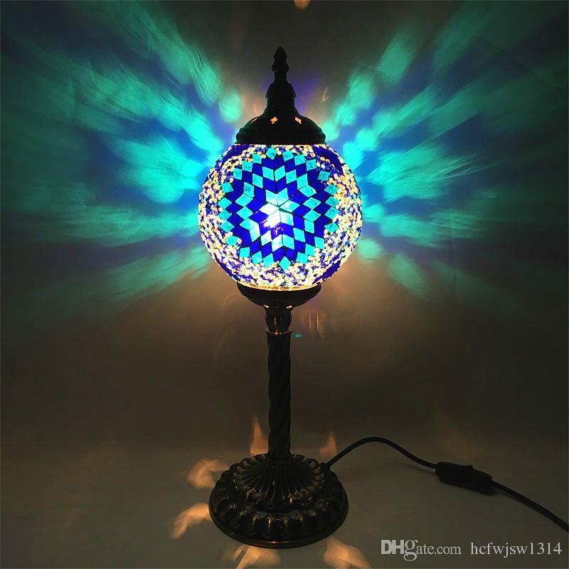 Southeast Asia table lamp retro romantic bedroom living room restaurant inn  travel agency handmade glass Turkish table lamp
