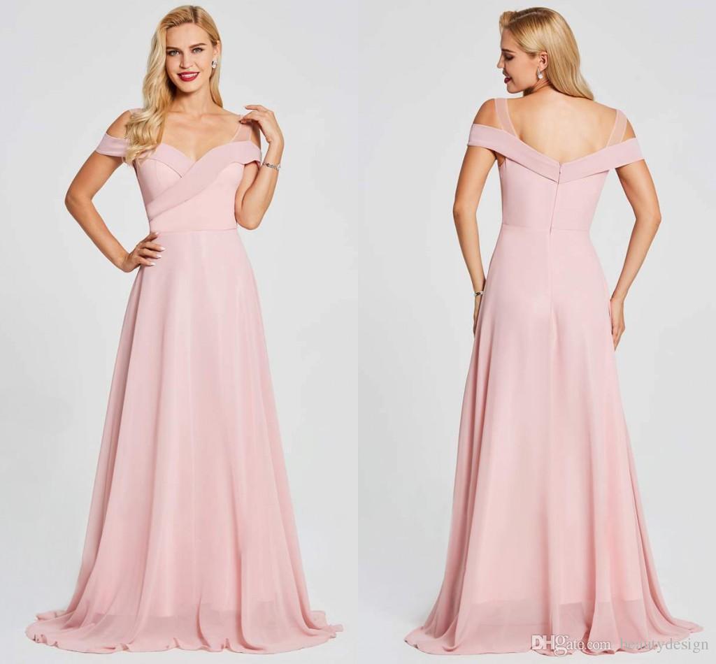 5169f3c49c Compre Vestidos De Dama De Honor Rosa Para Bodas Occidentales Vestidos De  Dama De Honor De Boda Boho Por Encargo Vestidos De Noche Largos De Hombro  Elegante ...