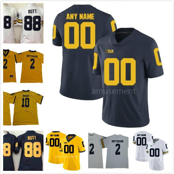 96a3b5096 ... clearance 2018 custom ncaa michigan wolverines 88 jake butt 5 jabrill  peppers 10 tom brady personalized