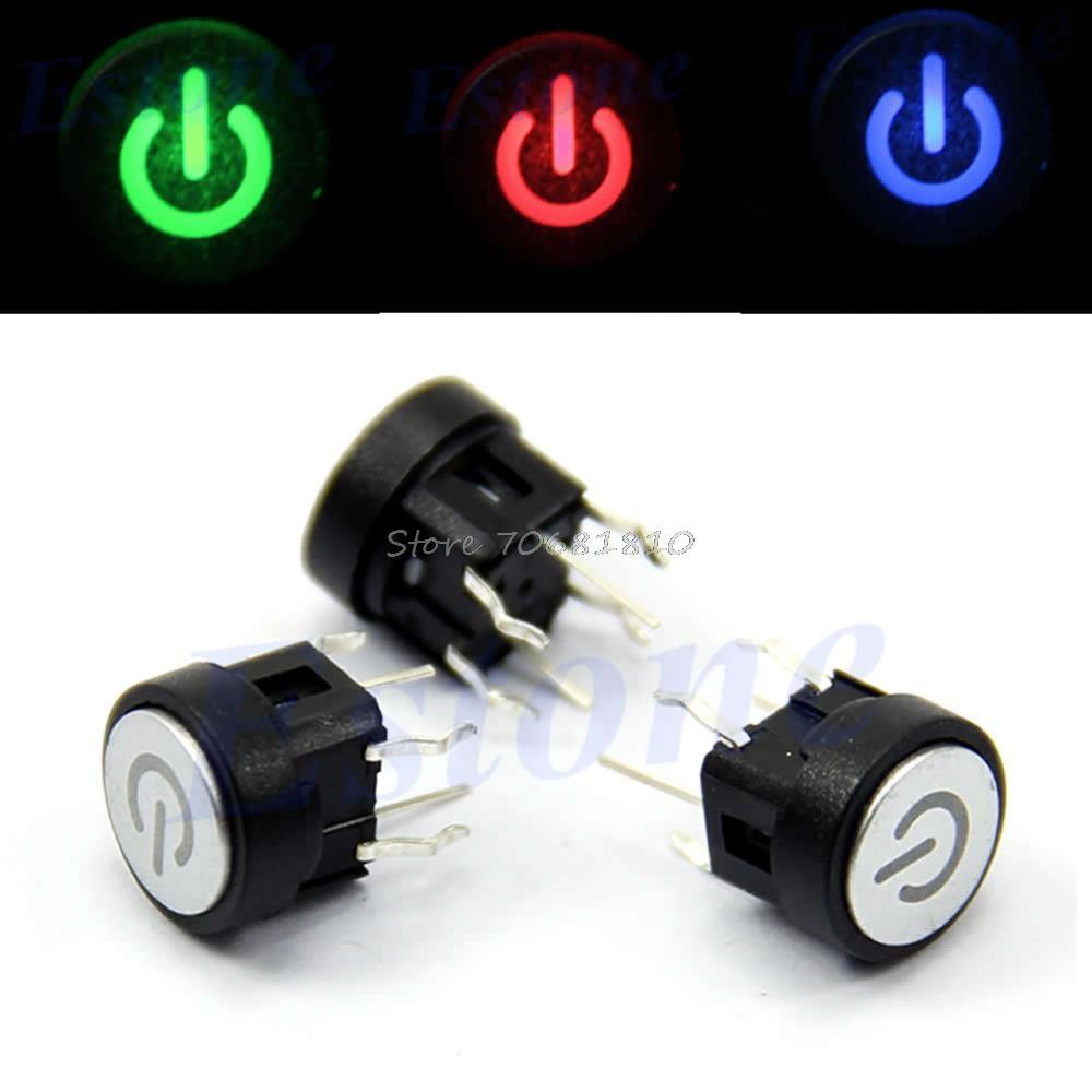 Led Light Power Symbol Push Button Momentary Latching Computer Case ...