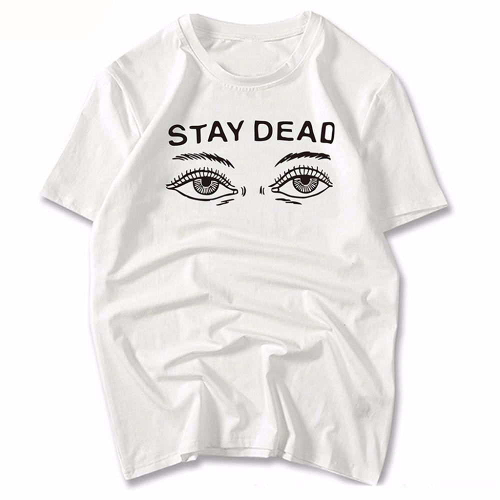 3a9cc3390f Compre Stay Dead Ojos De Las Mujeres De Impresión De Manga Corta O Cuello  Par De Camisetas Para Hombres Mujeres Blancas Sueltas 100 De Algodón Lindo  ...