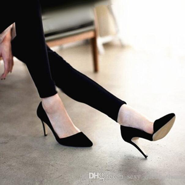 Free Ship Korean NEW Office Lady Faves Slim Single High Heeled Shoes Women  Heels Sexy Pointed Toe Pumps Black Customize Big Size Mens Shoes Online  Mens ... f79c333865a8