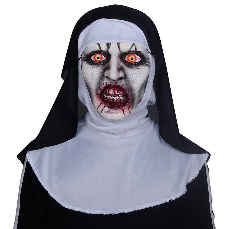 Nun Korku Maskesi Cosplay Valak Korkunç Lateks Maskeleri Ile Başörtüsü Korku Kostüm Tam Yüz Kask Cadılar Bayramı Partisi Prop