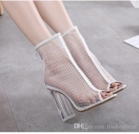 a47b39ba205 Chic White Meshy PVC Transparent Crystal Thick Heels Shoes Ankle ...