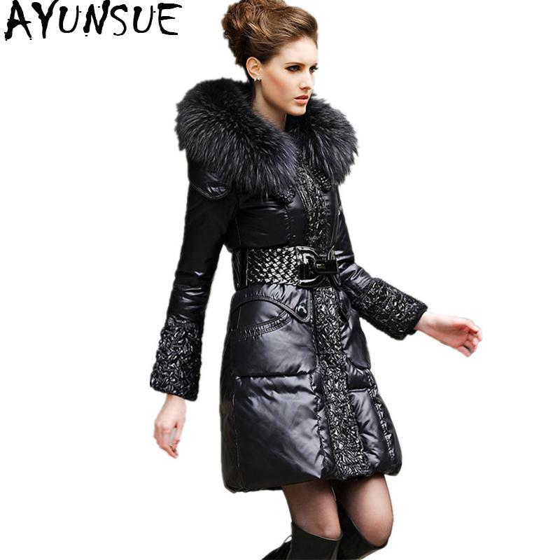 d94deb3023d AYUNSUE Winter Down Jacket Women Warm Coat Female 100% Natural Fur ...