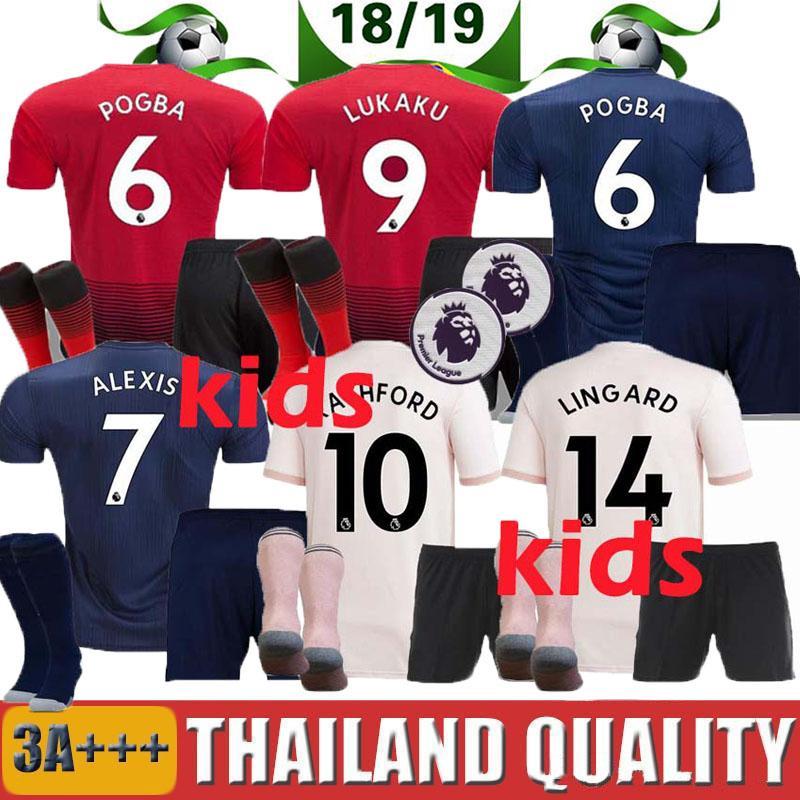2a947946a 2019 2018 2019 Manchester United Kids Jerseys Soccer Kit Away Pink ALEXIS  LUKAKU THIRD Man Home POGBA 10 RASHFORD Boy Child Utd Football Shirts From  ...