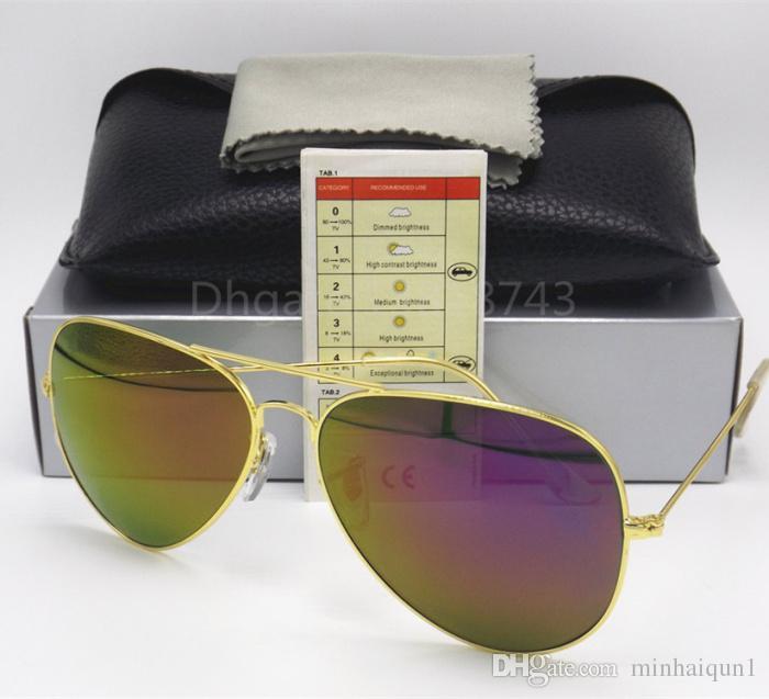9abfd7929cf 2017 High Quality Brand Designer Fashion Mirror Purple Flash Sunglasses For Men  And Women 58mm 62mm UV400 Vintage Sport Sun Glasses With Box Aviator ...