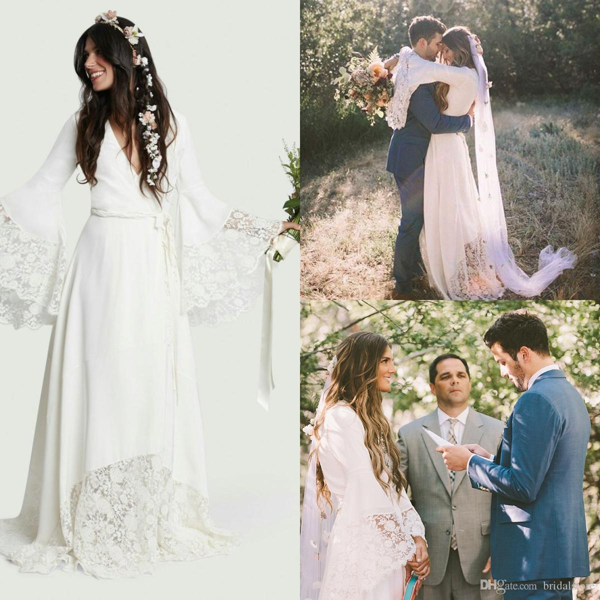 Discount Hot Designer Boho Beach Wedding Dresses Cheap Bohemian Long Bell  Sleeve Lace Bridal Gown Plus Size Hippie V Neck Chiffon Vestido De Noiva  Bridal ... 23315e3a9601