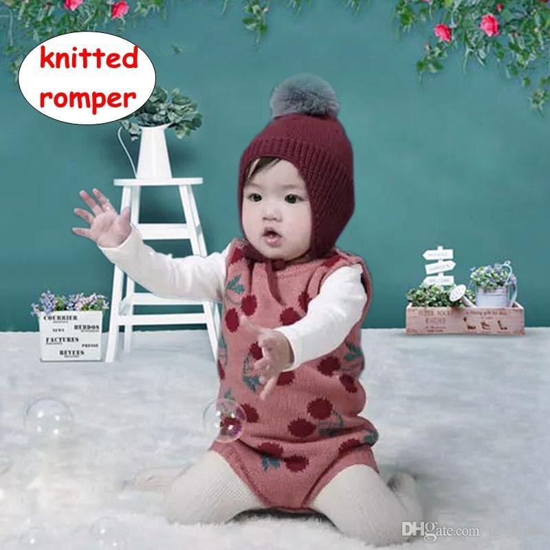 02e763e5b 2019 Baby Girl Cherry Pattern Vest Romper INS Newborn Knitted ...