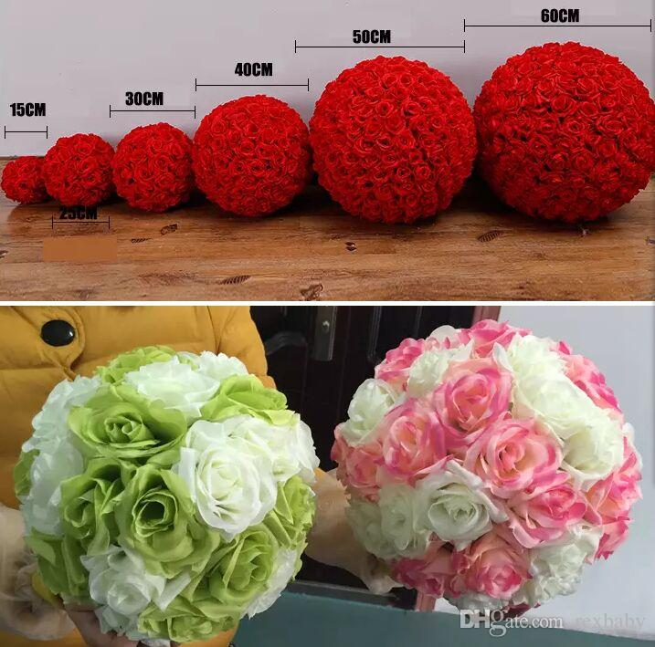 Rose balls 6~24 Inch15~60CM Wedding silk Pomander Kissing Ball decorate flower artificial flower for wedding garden market decoration