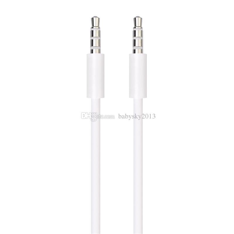 MPKulaklık için Erkek Stereo Yardımcı Kordon için aux kablo 1m 3 ft Beyaz Siyah Aux Kablo 3.5mm Jack Ses Kablosu Erkek