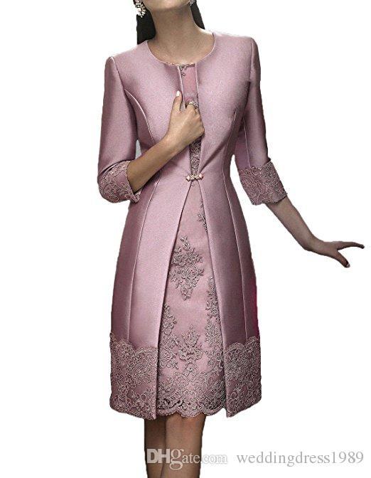 Elegante vaina Corta Ropa formal de madre con chaqueta Vestido de fiesta de boda de fiesta de encaje de satén de noche 2018 Vestido de madre de la novia Vestidos de traje