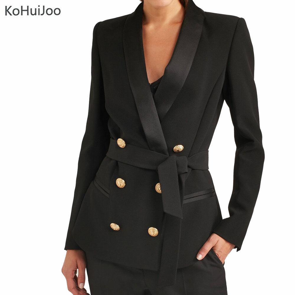 buy popular b9708 664f1 KoHuiJoo Giacca nera blazer donna Slim Fit alta qualità pulsante d oro  giacca Blazer Femenino giacche da donna