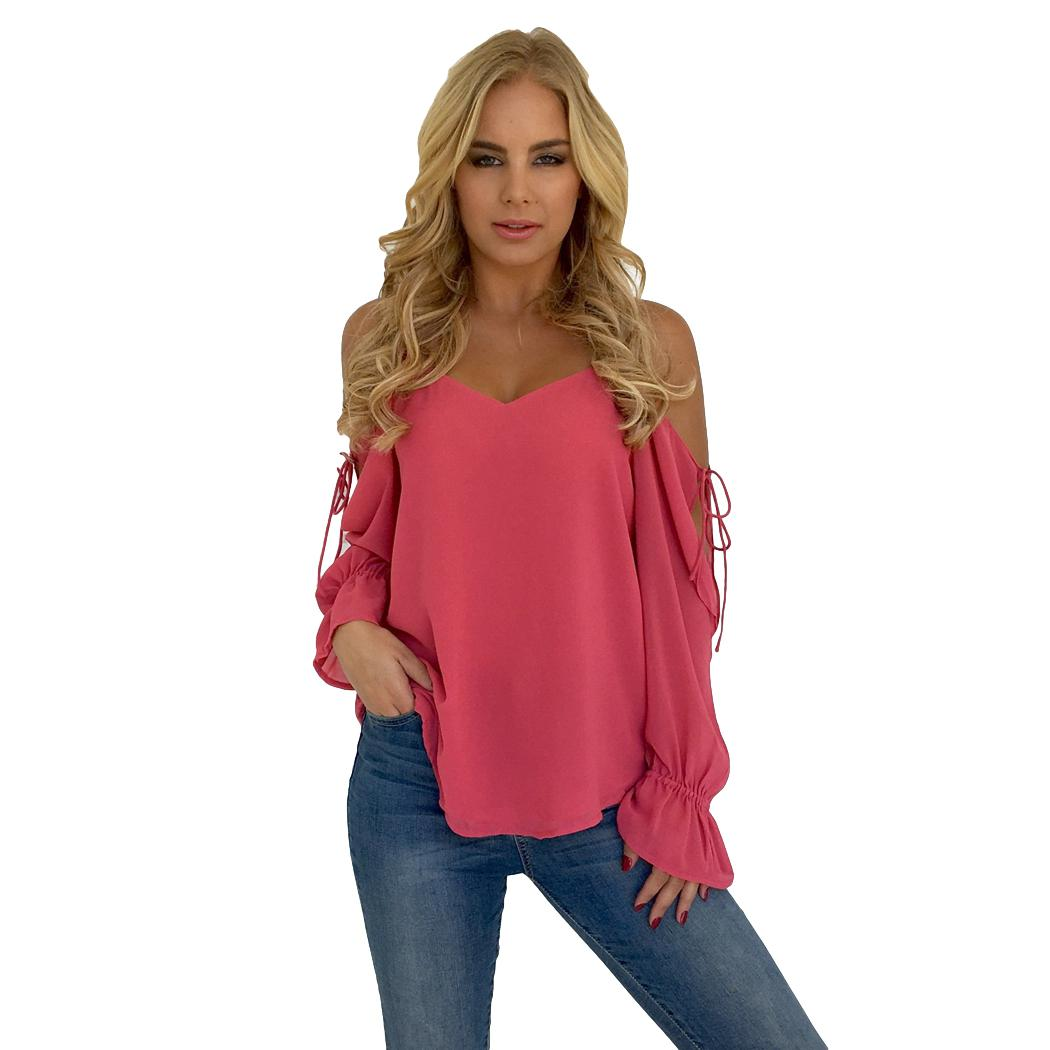 4a8da846a5c1f 2019 2018 Summer Chiffon Blouse Tops Women Sexy Cold Shoulder Bandage Flare  Blouses Ladies Long Sleeve Loose Top Shirt Blusas Mujer From Kennethy
