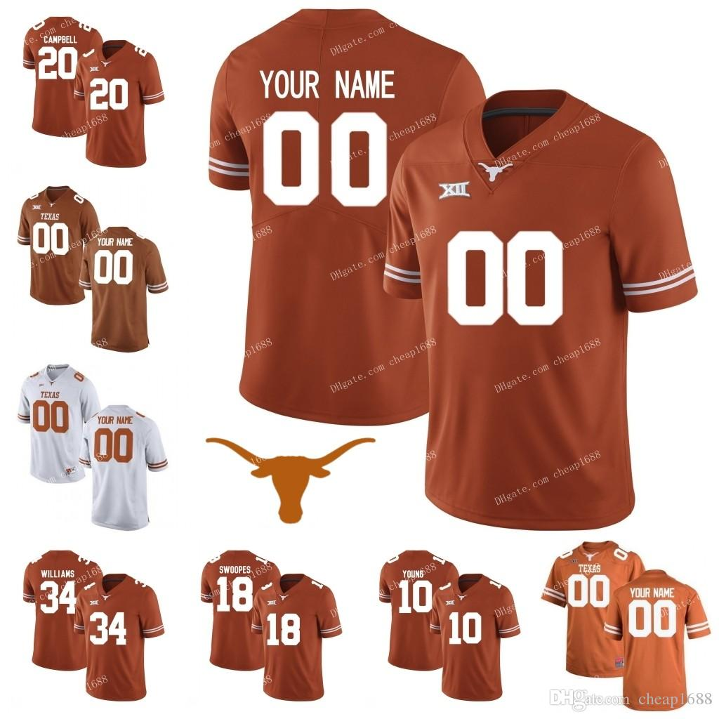 2019 Texas Longhorns  20 Earl Campbell 34 Ricky Williams 11 Sam Ehlinge 12  Colt McCoy White Brunt Orange Stitched NCAA College Football Jerseys S From  ... b9c62ab93