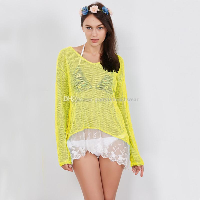 c611e6cad88 2019 Handmade Crochet Beach Bikini Cover Up Beachwear Sexy Swimsuit Women  Swimwear Girls Sunscreen Bathing Suit Pink Lady Saida De Praia Feminino  From ...