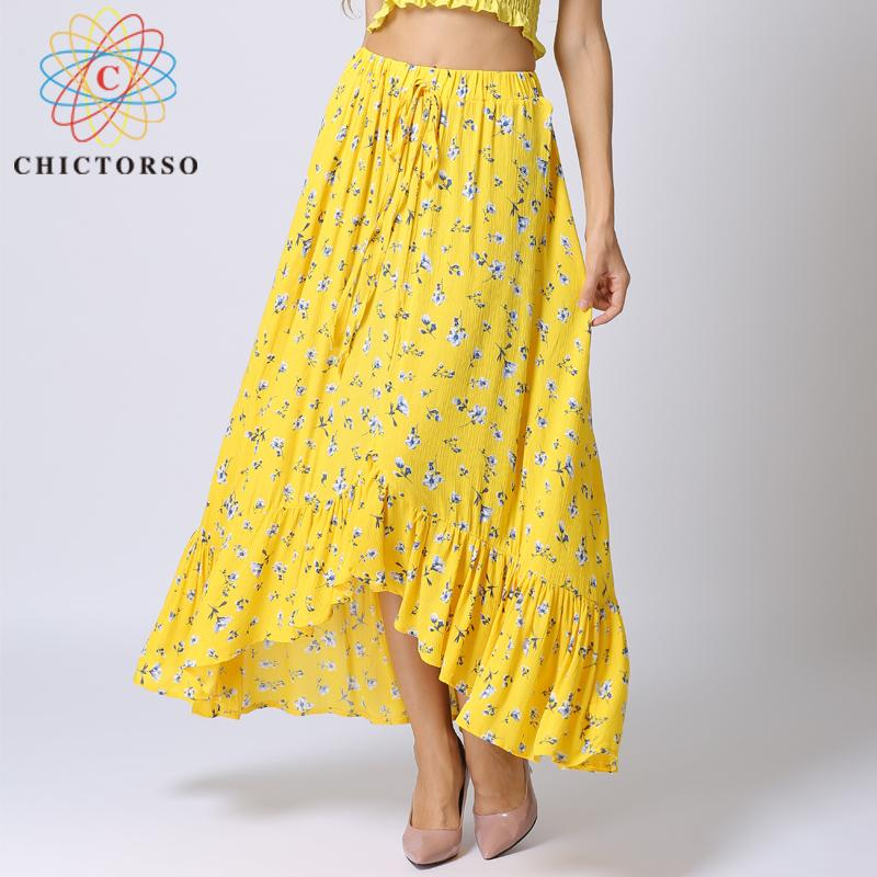 5a8d1f77a923a Chictorso Floral Printed Ruffle Long Skirt High Waist Summer Skirts  Bohemian Midi Skirt Women Boho Beach 2018 Casual Saia