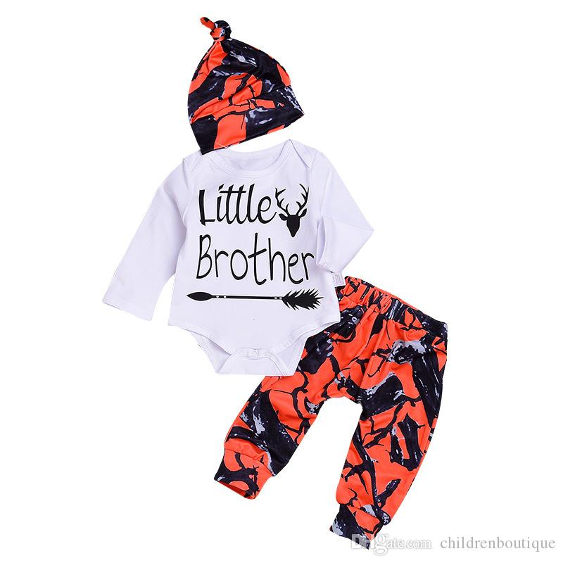 c7a3a747b433 2019 2018 New Toddler Baby Boys Sets Little Brother Romper + Long Pants  Leggings + Hat Orange Camouflage Outfits Set Newborn Infant Clothes From ...
