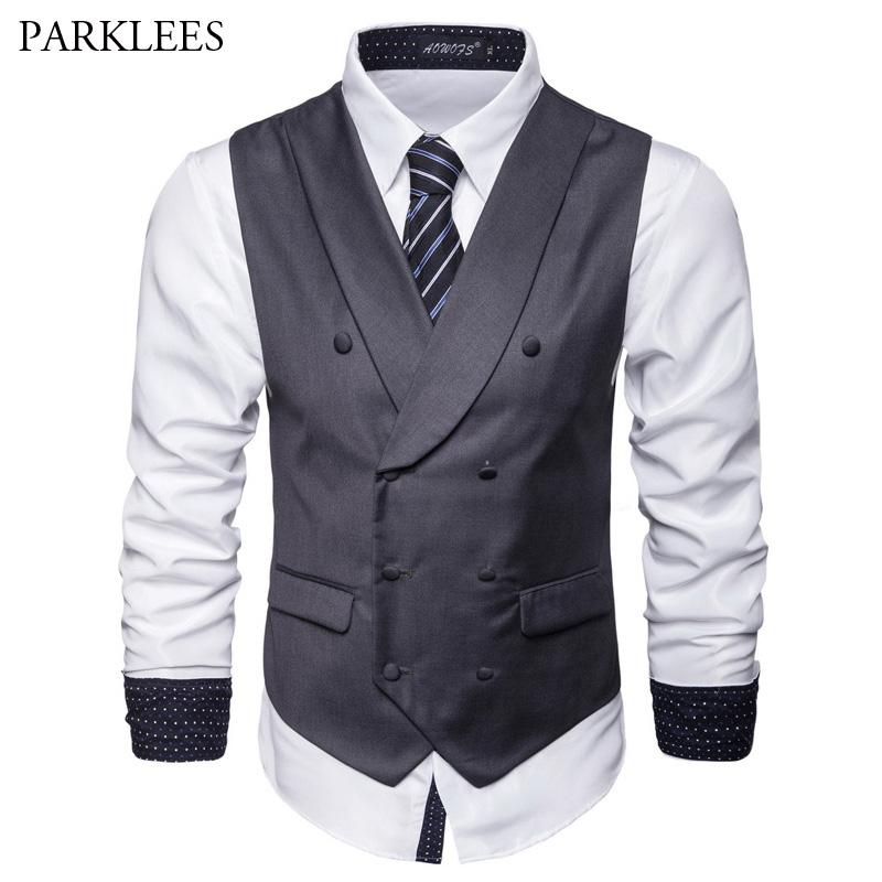 Mens Double Breasted Suit Vest 2018 Brand New Slim Fit Sleeveless Waistcoat  Vest Men Business Wedding Chalecos Para Hombre UK 2019 From Dolylove 69e403a10905