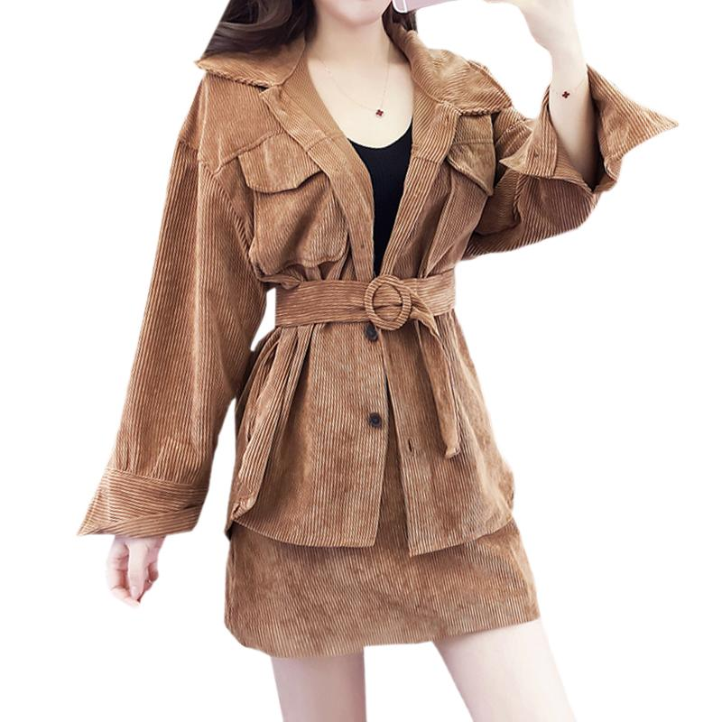070706c79e Vintage Corduroy Women Set Autumn Female Pocket Sashes Jacket +High Waist  Mini Skirt Suits 2 Piece Fashion Streetwear Clothing