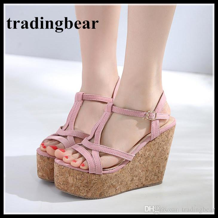 68c5902e81e Lena Vivi Sweet Pink T Strappy Platform High Heel Wedges Shoes Summer  Sandals 12cm Size 34 To 39 Shoes Uk Flat Sandals From Tradingbear