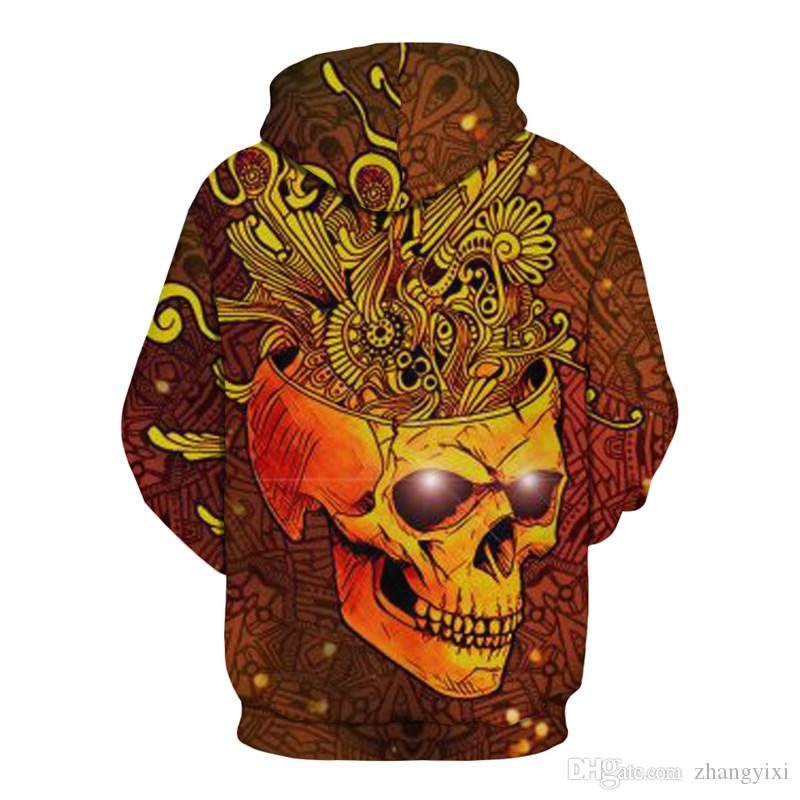 Wholesale Men Women Space Crown Skull 3D Digital Printing Pullover Hoodies Top Unisex Clothes Sweatshirt