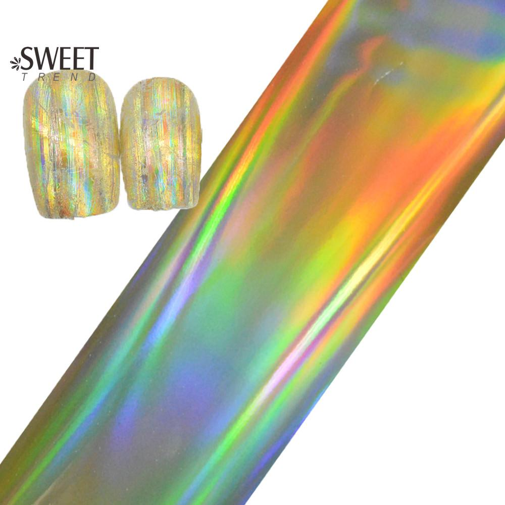 100cmx4cm Hot Laser Gold Nail Foils Glue Adhesive Nail Art Transfer ...