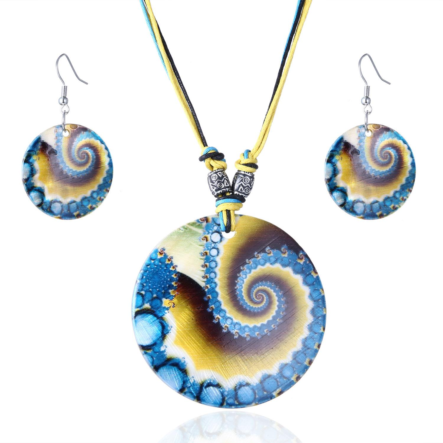 2018 New Arrival Charming Painted Printed Shell Jewelry Set Fashion