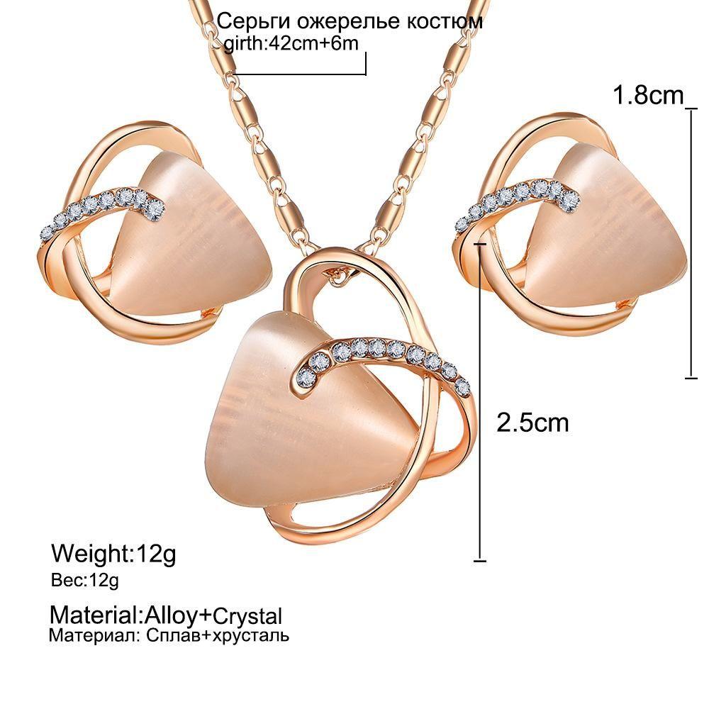 2018 neue art dreieck katzenauge stein ohrringe halskette set mode legierung kristall ohrstecker schmuck frauen mädchen geschenk