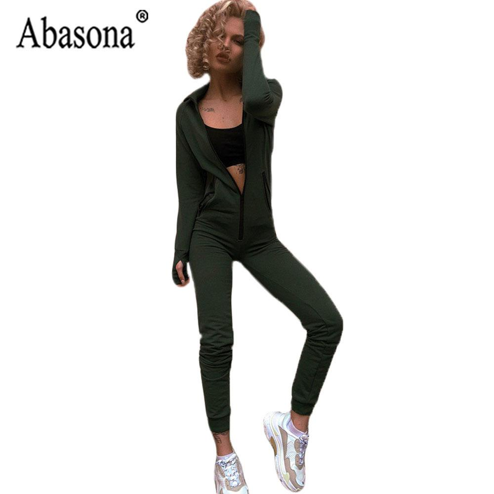 ffeea01e4618 Abasona Green Women Hooded Jumpsuit Sportwear Long Sleeve Bodycon ...