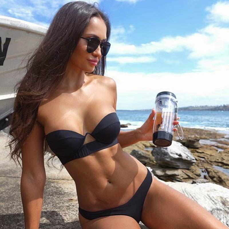 c1a025c1eb8f7 2019 Sexy Black Red Bikinis 2018 Mujer Underwire Push Up Swimwear Women  Swimsuit Hot Bandeau Brazilian Bikini Set Beachwear Swimming Bathing Suit  From ...