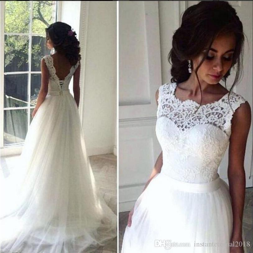 Discount Lace Beach Wedding Dresses Crew A Line Tulle Bridal Dresses ...
