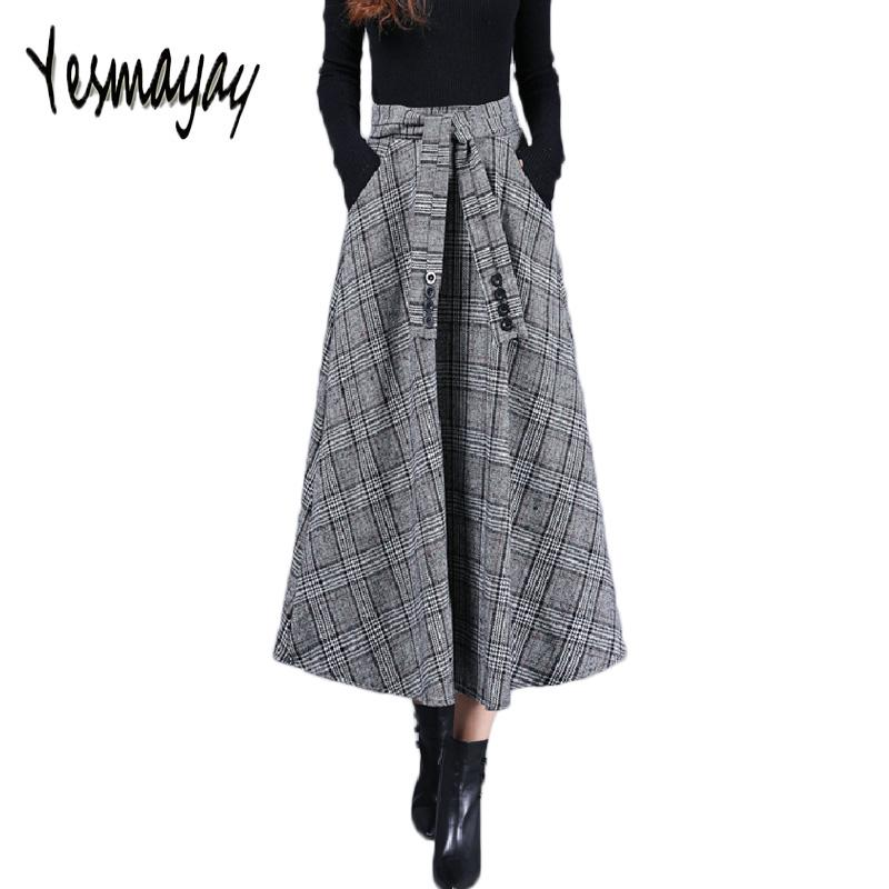 8d3a8f8d61a 2019 Long Maxi Skirt For Women Warm Wool Autumn Winter Vintage High ...