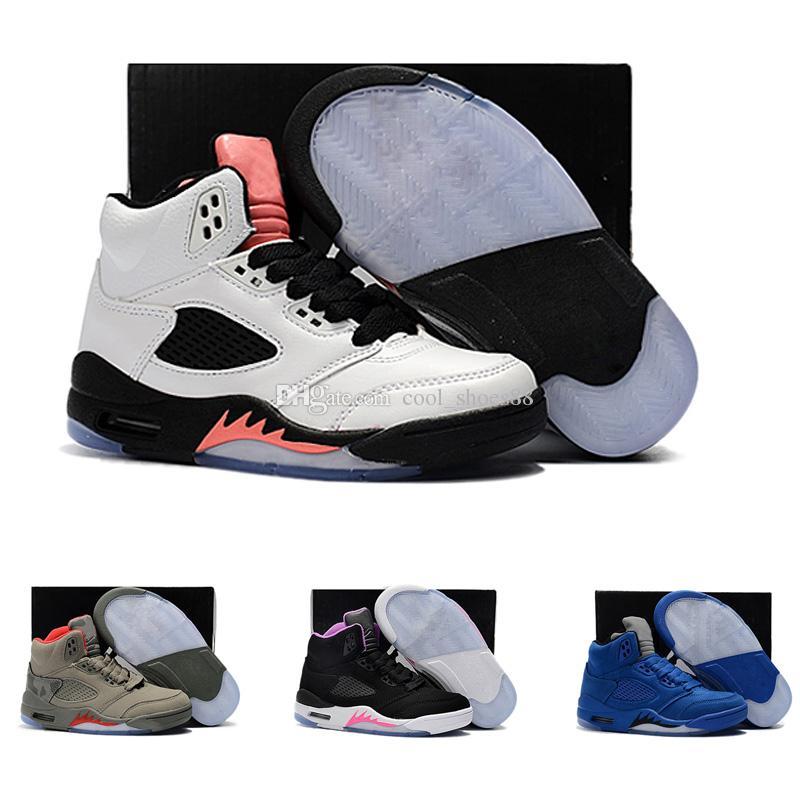 Acquista 2018 Nike Air Jordan 5 11 12 Retro Scarpe Bambini 5 5s Oro Bianco  Cemento Bambini Scarpe Da Pallacanestro Donna OG Nero Metallizzato Blu  Scuro ... 7f59f8f8a9a