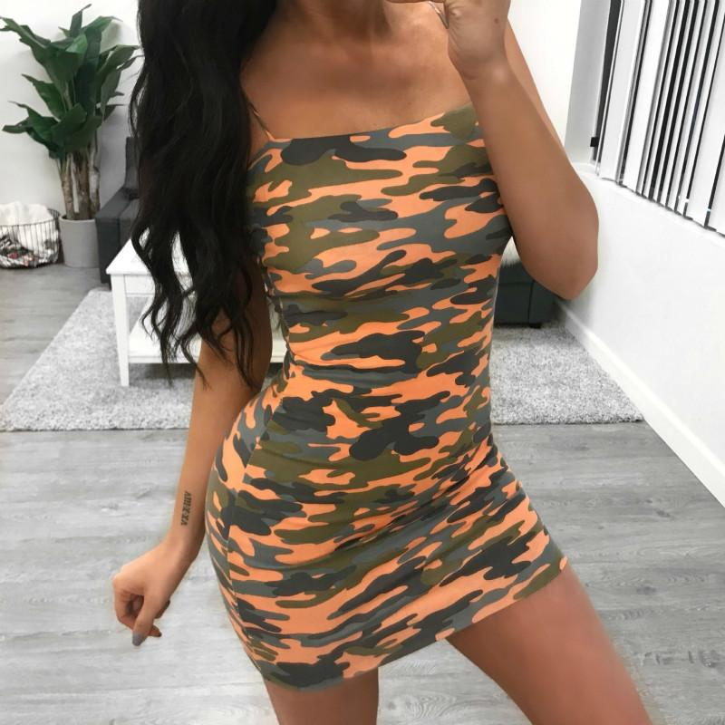 0d430b974a331 Party Slip Printing Dress Camo Spaghetti Straps Short Mini Dress 2019  Fashion Womens Sexy Camouflage Summer