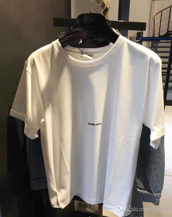 2018SS Fashion Letter Design Hombres Algodón Casual manga corta SAIN LAURE T Shirts Mujeres Slim tamaño asiático S-XL